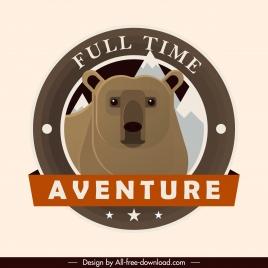 adventure label template wild bear sketch classic design