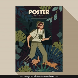 adventure poster explorer man forest rabbits icons