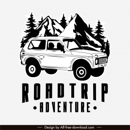 adventure road trip banner black white classic design