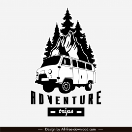 adventure road trip logotype black white classic design