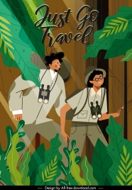 adventure travel banner explorer forest sketch cartoon design