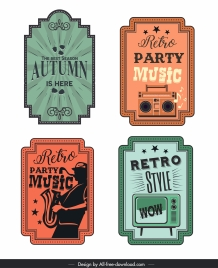 advertising label tag templates retro colored flat design