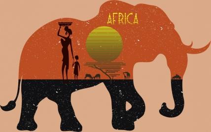 africa advertisement tribal people sun land elephant icons