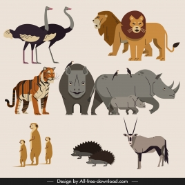 africa animals icons colored classical sketch