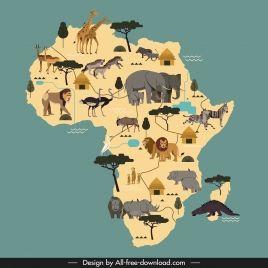 africa background animals elements map sketch