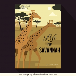 africa banner giraffe species meadow sketch classical design