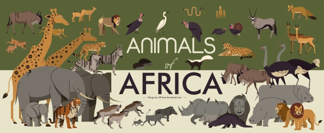 africa banner wild animals species sketch colored classic
