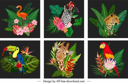 africa decor templates nature elements sketch colorful dark