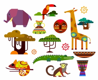 africa icons illustration with flat animals and trees