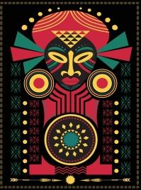 africa symbol drawing tribal human icon dark multicolor