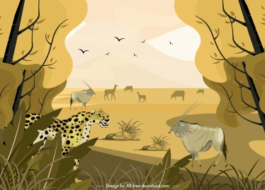 africa wild landscape painting colored classic design