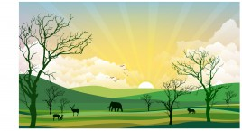 african landscape with elepant lion and deer