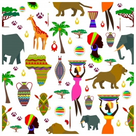 african repeat pattern illustration in flat color style