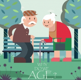 age painting old couple icon colored cartoon design