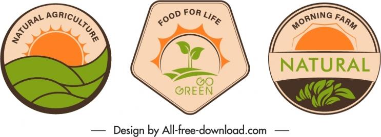 agricultural food label templates retro flat shapes decor