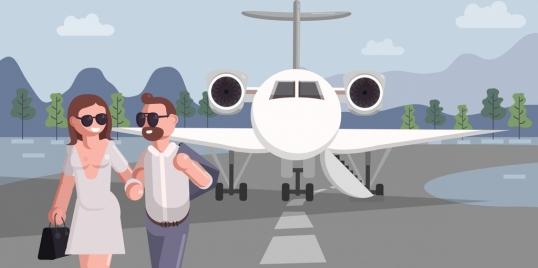 air trip background couple airplane icons cartoon design