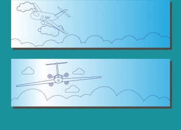 airplane background sketch sets hand drawn style
