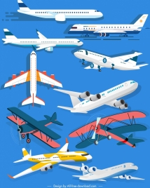 airplane icons modern classic models sketch