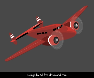 airplane model icon dynamic flying design 3d sketch