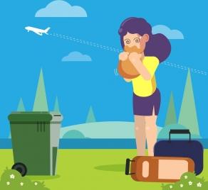 airsick background vomit woman airplane icons cartoon design