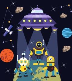 alien background robot ufo icon cartoon design