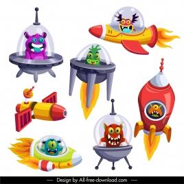 alien design elements colorful cartoon sketch