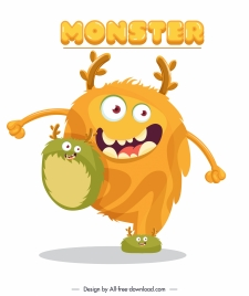 alien monster icon funny colored cartoon sketch