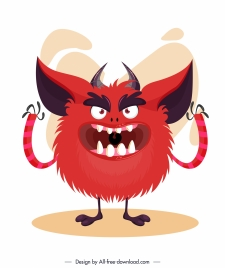 alien monster icon furry red sketch cartoon character