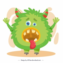alien monster icon green design cartoon character sketch