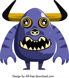 alien monster icon horny animal sketch cartoon character
