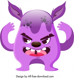 alien monster icon violet sketch cartoon character