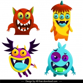 alien monster icons funny emotion sketch cartoon characters