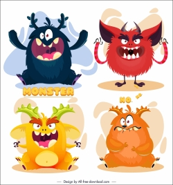 alien monsters icons funny cartoon characters colorful design