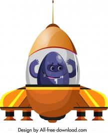 alien spaceship icon colored cartoon sketch