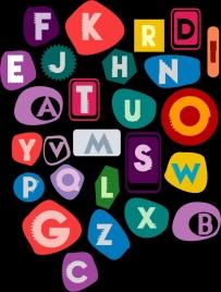 alphabet backdrop colorful capital texts isolation