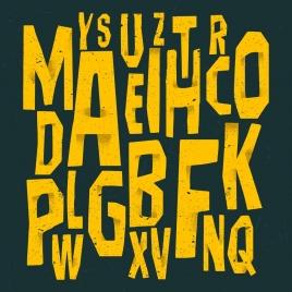 alphabet backdrop yellow capital texts messy design