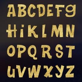 alphabet background flat golden decoration