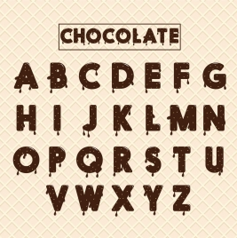alphabet background melting chocolate decoration