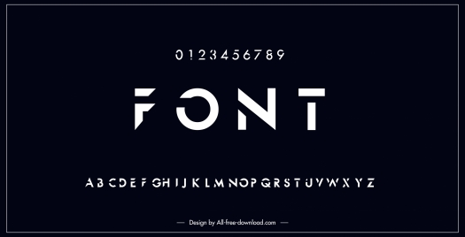 alphabet background template modern dark black design