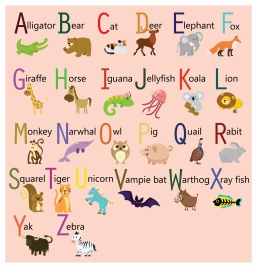 alphabet sets design with cute cartoon animals