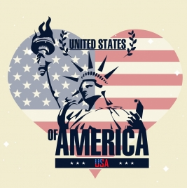 america background flag liberty statue heart icons decor