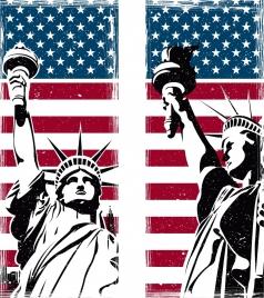 america background flag liberty statue icons retro design