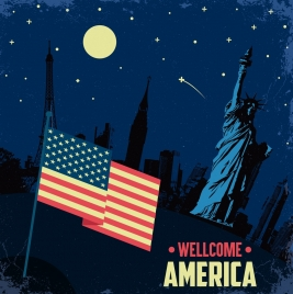 america banner flag liberty statue night landscape icons