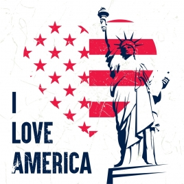 america banner heart flag elements liberty statue decor