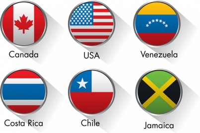 america flag icons collection colored round flat design