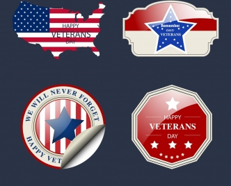 america labels collection stars flags map icons