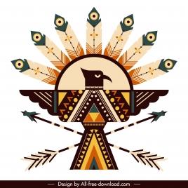 american indian symbol icon symmetric eagle feather arrows