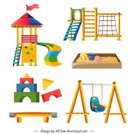amusement park design elements colorful games toys sketch
