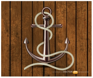 anchor realistic on wooden background