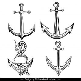 anchor tattoo templates black white classical sketch